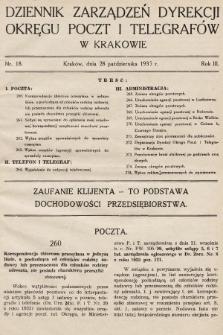 Dziennik Zarządzeń Dyrekcji Okręgu Poczt i Telegrafów w Krakowie. 1935, nr18