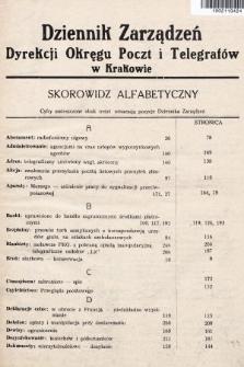 Dziennik Zarządzeń Dyrekcji Okręgu Poczt i Telegrafów w Krakowie. 1936, skorowidz