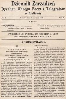 Dziennik Zarządzeń Dyrekcji Okręgu Poczt i Telegrafów w Krakowie. 1936, nr3