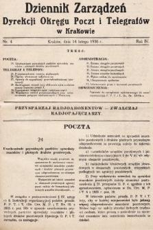 Dziennik Zarządzeń Dyrekcji Okręgu Poczt i Telegrafów w Krakowie. 1936, nr4