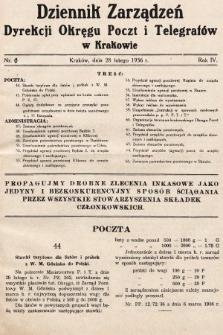 Dziennik Zarządzeń Dyrekcji Okręgu Poczt i Telegrafów w Krakowie. 1936, nr6