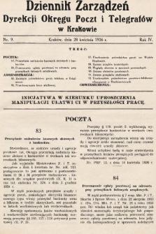 Dziennik Zarządzeń Dyrekcji Okręgu Poczt i Telegrafów w Krakowie. 1936, nr9