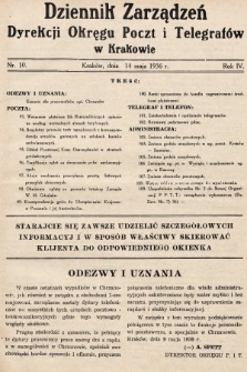 Dziennik Zarządzeń Dyrekcji Okręgu Poczt i Telegrafów w Krakowie. 1936, nr10