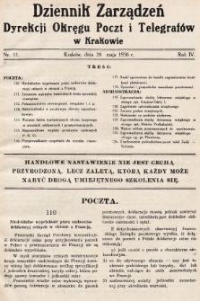Dziennik Zarządzeń Dyrekcji Okręgu Poczt i Telegrafów w Krakowie. 1936, nr11