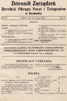 Dziennik Zarządzeń Dyrekcji Okręgu Poczt i Telegrafów w Krakowie. 1936, nr12