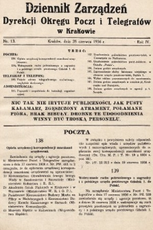 Dziennik Zarządzeń Dyrekcji Okręgu Poczt i Telegrafów w Krakowie. 1936, nr13