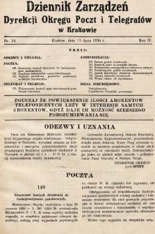 Dziennik Zarządzeń Dyrekcji Okręgu Poczt i Telegrafów w Krakowie. 1936, nr14