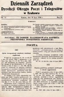 Dziennik Zarządzeń Dyrekcji Okręgu Poczt i Telegrafów w Krakowie. 1936, nr15