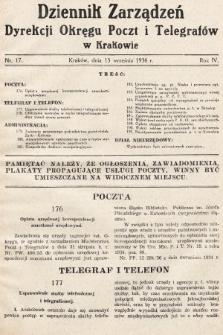 Dziennik Zarządzeń Dyrekcji Okręgu Poczt i Telegrafów w Krakowie. 1936, nr17