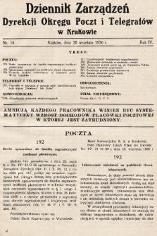 Dziennik Zarządzeń Dyrekcji Okręgu Poczt i Telegrafów w Krakowie. 1936, nr18