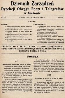 Dziennik Zarządzeń Dyrekcji Okręgu Poczt i Telegrafów w Krakowie. 1936, nr21