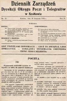 Dziennik Zarządzeń Dyrekcji Okręgu Poczt i Telegrafów w Krakowie. 1936, nr22