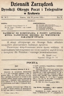 Dziennik Zarządzeń Dyrekcji Okręgu Poczt i Telegrafów w Krakowie. 1936, nr24