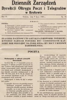 Dziennik Zarządzeń Dyrekcji Okręgu Poczt i Telegrafów w Krakowie. 1938, nr10