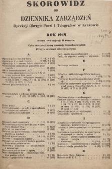 Dziennik Zarządzeń Dyrekcji Okręgu Poczt i Telegrafów w Krakowie. 1948, skorowidz