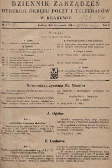Dziennik Zarządzeń Dyrekcji Okręgu Poczt i Telegrafów w Krakowie. 1948, nr1
