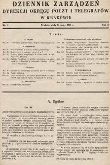Dziennik Zarządzeń Dyrekcji Okręgu Poczt i Telegrafów w Krakowie. 1948, nr7