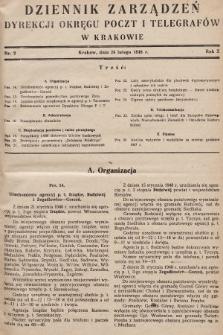 Dziennik Zarządzeń Dyrekcji Okręgu Poczt i Telegrafów w Krakowie. 1948, nr2