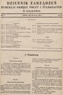 Dziennik Zarządzeń Dyrekcji Okręgu Poczt i Telegrafów w Krakowie. 1948, nr4
