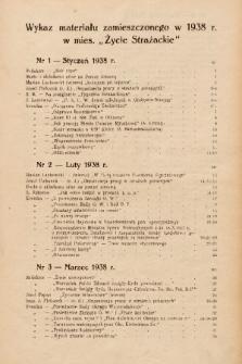 Życie Strażackie Województwa Kieleckiego. 1938, wykaz