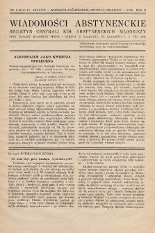Wiadomości Abstynenckie : biuletyn Centrali Kół Abstynenckich Młodzieży. 1926, nr9-10-11-12