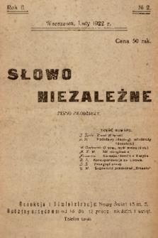 Słowo Niezależne : pismo młodzieży. 1922, nr 2