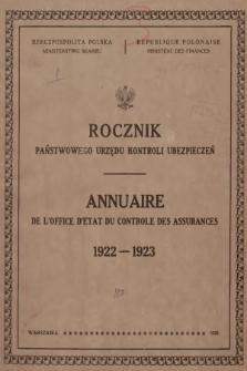 Rocznik Państwowego Urzędu Kontroli Ubezpieczeń. 1922/1923