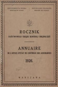 Rocznik Państwowego Urzędu Kontroli Ubezpieczeń. 1926
