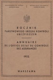 Rocznik Państwowego Urzędu Kontroli Ubezpieczeń. 1932