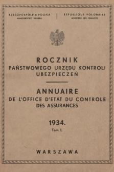 Rocznik Państwowego Urzędu Kontroli Ubezpieczeń. 1934
