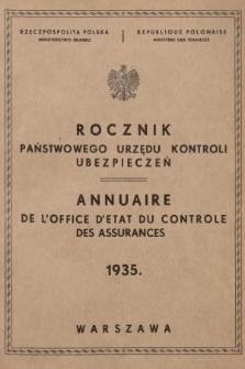 Rocznik Państwowego Urzędu Kontroli Ubezpieczeń. 1935