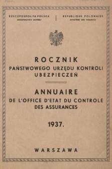 Rocznik Państwowego Urzędu Kontroli Ubezpieczeń. 1937