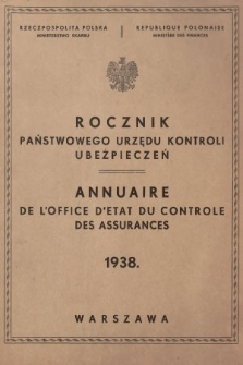Rocznik Państwowego Urzędu Kontroli Ubezpieczeń. 1938
