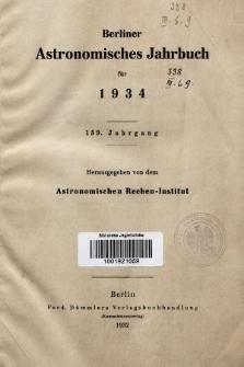Berliner Astronomisches Jahrbuch für 1934. Jg. 159, 1934
