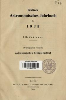 Berliner Astronomisches Jahrbuch für 1935. Jg. 160, 1935