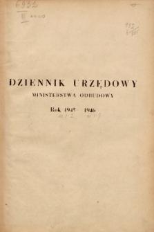 Dziennik Urzędowy Ministerstwa Odbudowy. 1945-1946, skorowidz alfabetyczny