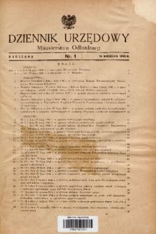 Dziennik Urzędowy Ministerstwa Odbudowy. 1945, nr 1