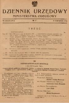 Dziennik Urzędowy Ministerstwa Odbudowy. 1946, nr 7