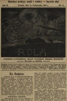 Rola : tygodnik ilustrowany : organ Polskiego Związku Rolników. 1909, nr41