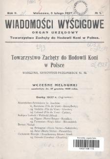 Wiadomości Wyścigowe : organ urzędowy Towarzystwa Zachęty do Hodowli Koni w Polsce. 1927, nr1