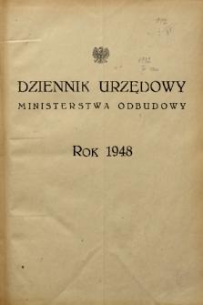 Dziennik Urzędowy Ministerstwa Odbudowy. 1948, skorowidz alfabetyczny