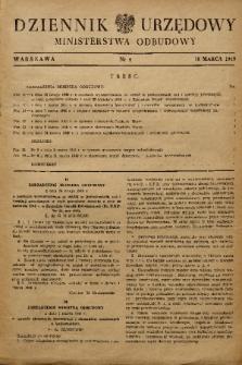 Dziennik Urzędowy Ministerstwa Odbudowy. 1949, nr 4