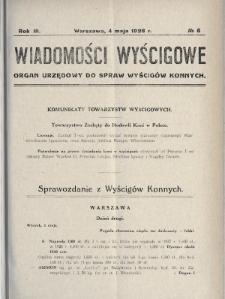 Wiadomości Wyścigowe : organ urzędowy do spraw wyścigów konnych. 1928, nr8