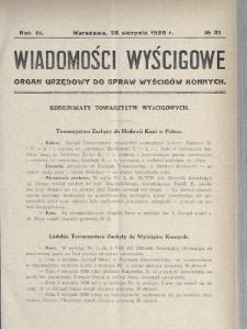 Wiadomości Wyścigowe : organ urzędowy do spraw wyścigów konnych. 1928, nr31