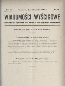 Wiadomości Wyścigowe : organ urzędowy do spraw wyścigów konnych. 1928, nr42