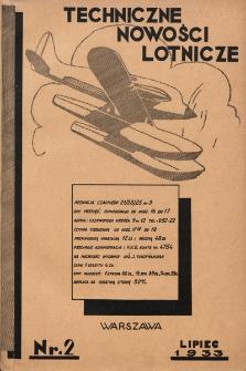 Techniczne Nowości Lotnicze. 1933, nr2