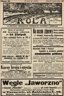 Rola : ilustrowany bezpartyjny tygodnik ku pouczeniu i rozrywce. 1929, nr43