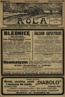 Rola : ilustrowany bezpartyjny tygodnik ku pouczeniu i rozrywce. 1930, nr17