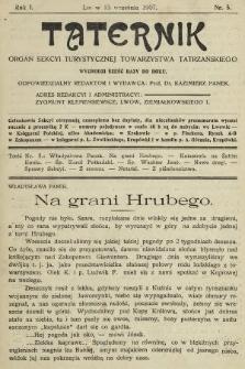 Taternik : organ Sekcyi Turystycznej Towarzystwa Tatrzańskiego. 1907, nr5