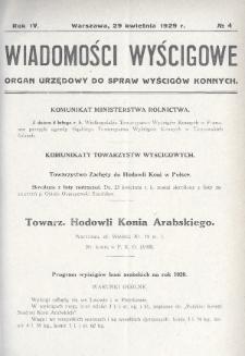 Wiadomości Wyścigowe : organ urzędowy do spraw wyścigów konnych. 1929, nr4